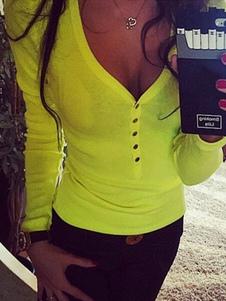 Camiseta de manga larga Mujer Botones con cuello en V Top con forma amarilla