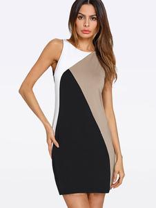 Mulheres verão vestido cor bloco mangas túnica vestidos