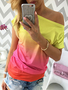 Mulheres Casual Camiseta Ombre Manga Curta Off The Shoulder Summer Top