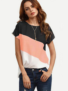 T-shirt de manga curta Mulheres Color Block Summer Top