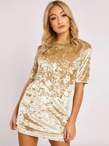 Bodycon Dress Women Velour Manica corta girocollo 2020 Mini abito sexy