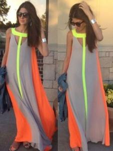 2020 vestido maxi mangas recortadas vestido de verão cor bloco vestido de chiffon