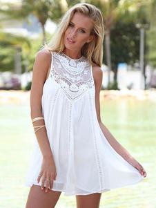 夏ワンピース ノースリーブ ラウンドネック Women's Clothing ホワイト  リゾートワンピース ポリエステル シック&モダン 無地 レース レディースワンピース レディースファッション