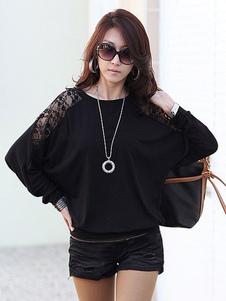 Camisa de manga longa T Mulheres Lace Top Neck Casual Top