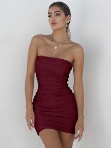 Vestito sexy aderente 2020 Mini abito senza spalline increspato che modella il mini abito