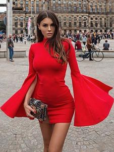 Vestito aderente sexy Vestito da abito lungo a maniche lunghe con campanella rossa