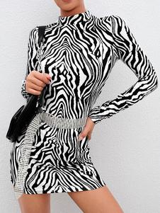 Vestito aderente sexy Vestito longuette a maniche lunghe Zebra Print Shaping Mini Dress