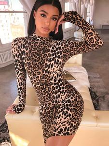 Abito aderente leopardato Abito miniabito a maniche lunghe Abito da minigonna