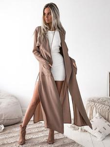 Cappotto da donna a cascata 2020 Tasche frontali aperte sul colletto turndown manica lunga