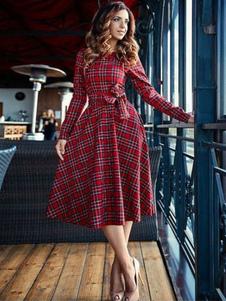 Vestido xadrez vintage manga longa em torno do pescoço arcos balanço vestido midi