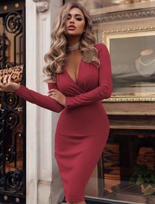 Vestito aderente sexy Vestito aderente da festa Manica lunga che modella il vestito longuette