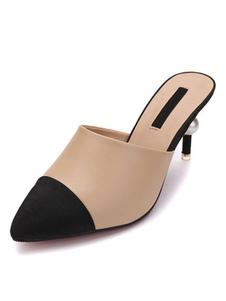 女性のためのラバ靴の高いヒールラバカーキ尖ったつま先のパッチワークのスリップ