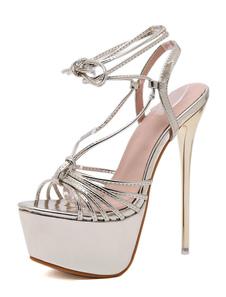الذهب مثير أحذية نسائية منهاج اللمحة تو الرباط حتى صنادل خنجر عالية الكعب الصنادل