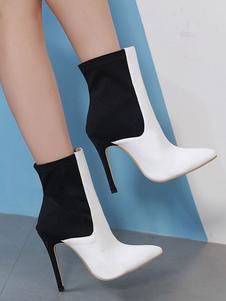 Tornozelo branco botas mulheres apontou Toe Patchwork botas de salto alto