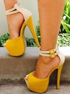 Sandalias de tacón alto Plataforma de gamuza Peep Toe Correa del tobillo Sandalia zapatos Mujeres Zapatos sexy