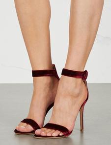Mulheres Vestido De Sapatos De Veludo Toe Aberto Tira No Tornozelo Sapatos De Festa De Salto Alto Sapatos De Noite