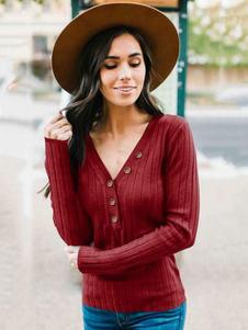 Mulheres Pullover Sweater V Neck Manga Longa Botões Casual Malhas
