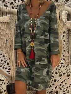 Свободное платье с длинными рукавами и камуфляжным принтом Camo