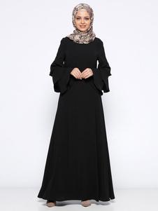 Mulheres muçulmanas vestido em camadas de manga comprida em torno do pescoço vestido abaya