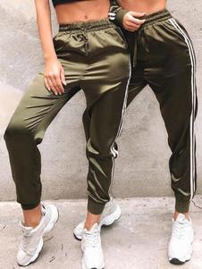 Pantalón de chándal para mujer Cinturón elástico de rayas Pantalones casuales