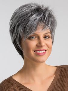 Mujeres pelucas sintéticas pelucas de pelo corto en capas grises