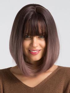 شعر المرأة الباروكات الجذور الداكنة قصير مستقيم بوب الشعر المستعار الاصطناعية الباروكات