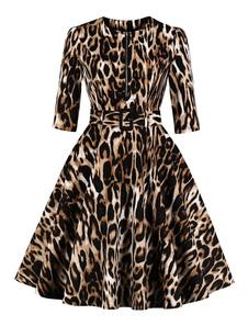 Leopardo Vestido Vintage Meia Manga Em Torno Do Pescoço Zip Algodão Vestido Retro