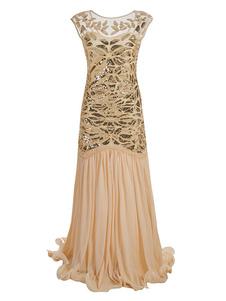 Платье Flapper 1920-х годов Мода Великий Гэтсби Винтаж Костюм Женщины Блестки Макси Платья Хэллоуин