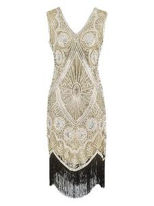 Great Gatsby Flapper Dress 1920-х годов Винтажный Костюм V-образным Вырезом Кисточки Блестки Платья Хэллоуин Для Женщин