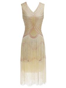 Vestidos años 20 color albaricoque  de poliéster Charleston disfraz Disfraces Retro para vuelta al cole estilo femenino Disfraces & Cosplay DISFRACES