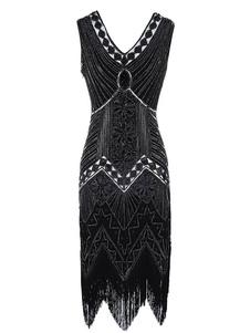 Платье Flapper 1920-х годов Мода Великий Гэтсби Винтаж Костюм Женщины Блесток Кистями Платья Хэллоуин