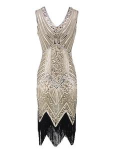 Платье Flapper 1920-х годов Мода Стиль наряды Великий Гэтсби Винтаж Костюм Для женщин с Блестками Кистями 20-х годов Платье Halloween