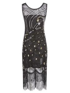 Great Gatsby Flapper Dress 1920-х годов Винтажный Костюм Блесток Кистями Платья Хэллоуин Для Женщин