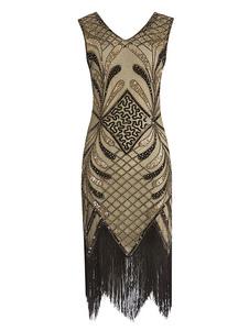 Great Gatsby Flapper Dress 1920-х годов Мода Винтаж Костюм Блесток V-образным Вырезом Кистями Платья Хэллоуин Для Женщин