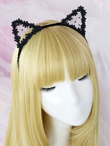 Sweet Lolita Hair Clasp Lace Floral Cat Ear Accessorio per capelli Lolita nero