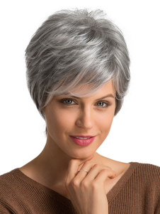 Pelucas para mujeres 2020 pelucas de pelo corto de Tousled gris