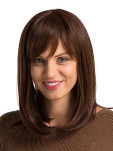 Коричневые волосы парики длинные прямые человеческие волосы парики с челкой