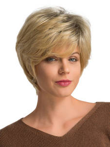 人間の髪の毛のかつらは女性のための金髪のTousled短い髪のかつらをかつら