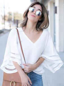 Blusas casuales de las mujeres de manga media con cuello en V Top de verano
