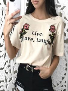 Mulheres Casual Camiseta manga curta em torno do pescoço Letras Imprimir Top Verão