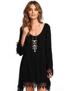 فستان أسود طويل الأكمام فستان سهرة دانتيل قصير