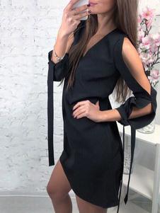 Vestito casual da donna a manica lunga con scollo a V e mezza manica