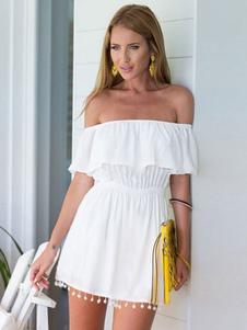 Мини-платье Off The Shoulder с короткими рукавами и бахромой
