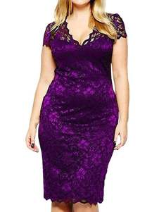 Lace Bodycon Vestido V Neck Cap Sleeve Shaping Vestido Midi