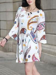 النساء اللباس التحول باتو الرقبة مطبوعة البسيطة اللباس