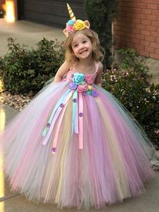 レインボーユニコーンドレス 2020 ベイビーガールズプリンセスチュチュファンシードレス ヘッドバンドキッズハロウィンコスチューム