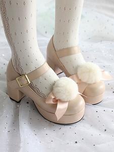 Doce Lolita Sapatos Pom Pom Bow Plataforma Chunky De Salto Alto Lolita Bombas