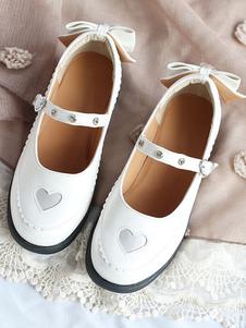 Doce Lolita Calçado Sweathear Arco Strass Branco Lolita Mary Jane Sapatos