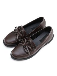 Sapatos Clássicos Lolita Arco Ruffle Deep Brown PU Lolita Bomba