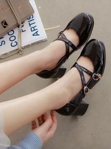 Classic Lolita Bomba Fivela Starlet Strappy Chunky Heel Lolita Sapatos